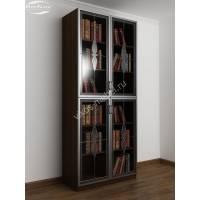 шкаф для книг с витражом цвета венге - молочный дуб