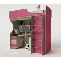 кровать чердак в детскую со шкафом розового цвета