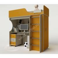 кровать чердак в детскую со шкафом желтого цвета