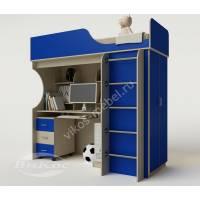 кровать чердак в детскую со шкафом синего цвета