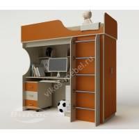 кровать чердак в детскую со шкафом оранжевого цвета