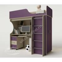 кровать чердак в детскую со шкафом филетового цвета