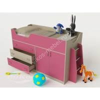 девчачая кровать чердак для ребенка розового цвета