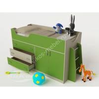 мини кровать чердак для ребенка зеленого цвета