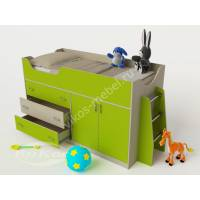 мини кровать чердак для ребенка цвета зеленый лайм
