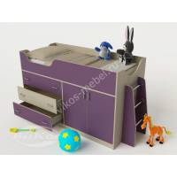 мини кровать чердак для ребенка филетового цвета