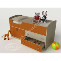 девчачая детская кровать чердак оранжевого цвета