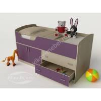 маленькая детская кровать чердак филетового цвета