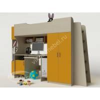кровать чердак в детскую с вместительным шкафом желтого цвета