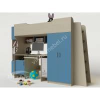кровать чердак в детскую с вместительным шкафом голубого цвета