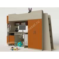 кровать чердак в детскую для девочки оранжевого цвета