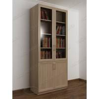 двухстворчатый книжный шкаф со стеклом цвета шимо светлый