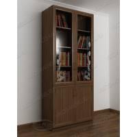 двухстворчатый книжный шкаф со стеклом цвета шимо темный