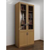 книжный шкаф со стеклом c витражным стеклом цвета бук