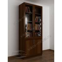 двухстворчатый книжный шкаф со стеклом цвета яблоня
