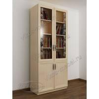 двухстворчатый книжный шкаф со стеклом с пескоструйным рисунком