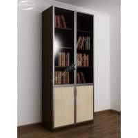 двухстворчатый книжный шкаф со стеклом цвета венге - молочный дуб
