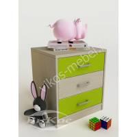 тумба для игрушек с тремя выдвижными ящиками цвета зеленый лайм