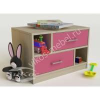 детская тумба с двумя выдвижными ящиками розового цвета