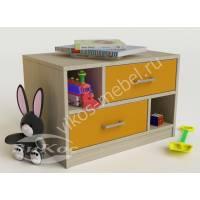детская тумба с двумя выдвижными ящиками желтого цвета
