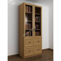 книжный шкаф со стеклянными дверями с ящиками цвета бук