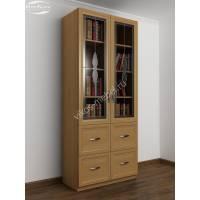 книжный шкаф со стеклянными дверями с витражом цвета бук
