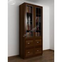 книжный шкаф со стеклянными дверями с ящиками цвета яблоня
