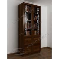 двухдверный книжный шкаф со стеклянными дверями цвета яблоня