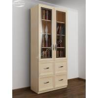 книжный шкаф со стеклянными дверями с ящиками с витражом