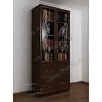 книжный шкаф со стеклянными дверями с пескоструем цвета венге