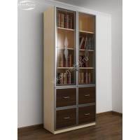 двухдверный книжный шкаф со стеклянными дверями цвета беленый дуб - венге