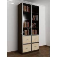 книжный шкаф со стеклянными дверями с ящиками цвета венге - молочный дуб
