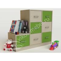 тумба для игрушек с 7-ю ящиками зеленого цвета