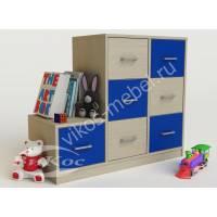 тумба для игрушек с 7-ю ящиками синего цвета