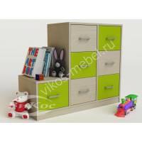 тумба для игрушек с 7-ю ящиками цвета зеленый лайм