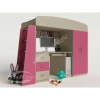 детская кровать чердак с вместительным шкафом розового цвета