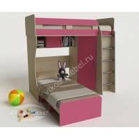 девчачая детская двухъярусная кровать розового цвета