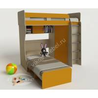детская двухъярусная кровать желтого цвета
