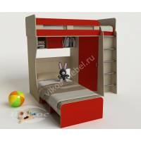 детская двухъярусная кровать для девочки красного цвета