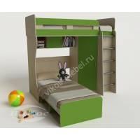 детская двухъярусная кровать зеленого цвета