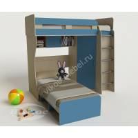 мальчуковая детская двухъярусная кровать голубого цвета