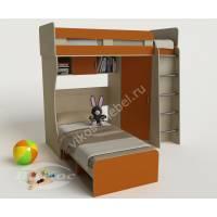 детская двухъярусная кровать для девочки оранжевого цвета