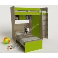 детская двухъярусная кровать цвета зеленый лайм