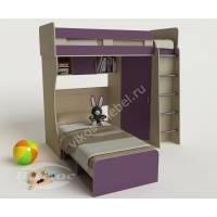 детская двухъярусная кровать филетового цвета