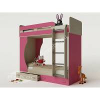 детская двухуровневая кровать для девочки розового цвета