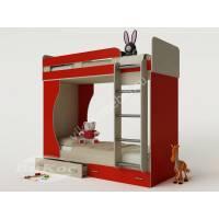 девчачая детская двухуровневая кровать красного цвета