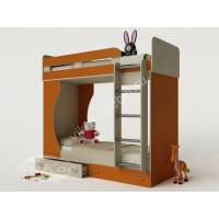 девчачая детская двухуровневая кровать оранжевого цвета