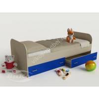 кровать от 3 лет с выдвижными ящиками синего цвета