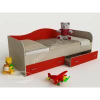 кровать в детскую для девочки красного цвета