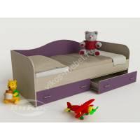 кровать в детскую с ящиками для мелочей филетового цвета